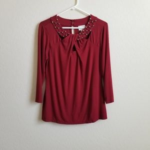 Anthropologie Eci Studded Cutout Long Sleeve top L